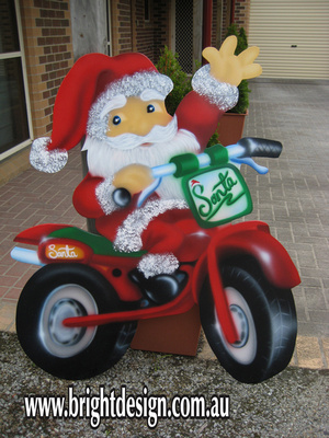 2- S-32 Motorbike Santa Outdoor Christmas Cut out Handmade for Christmas Display in Beaconsfield