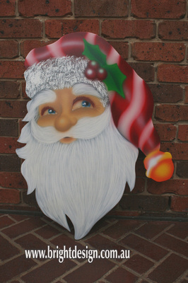Santa's Head Outdoor Christmas Cut Out Custom Airbrushed by Bright Design Airbrush Studio