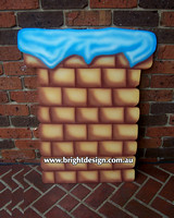 Chimney for Santa to Deliver Christmas Presents Outdoor Christmas Decoration Custome Airbrushed by Bright Design Airbrushing Studio for Home or Commercial Roof Christmas Displays