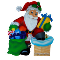 Delivering Santa Outdoor Christmas Decoration for Commercial and Home Christmas Displays By Bright Design Airbrushing Studio
