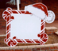 Santa Hat Sign Outdoor Christmas Decoration for Commercial and Home Christmas Displays By Bright Design Airbrushing Studio