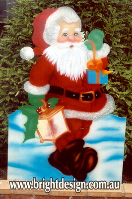 Santa with Lamp Outdoor Christmas Decoration for Commercial and Home Christmas Displays By Bright Design Airbrushing Studio