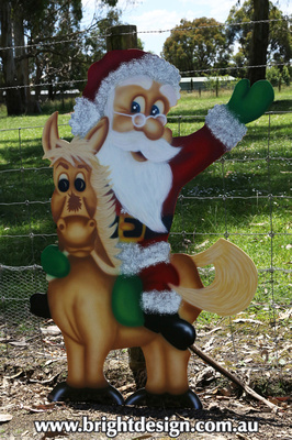 Horse Santa # 1 Outdoor Christmas Decoration for Commercial and Home Christmas Displays By Bright Design Airbrushing Studio