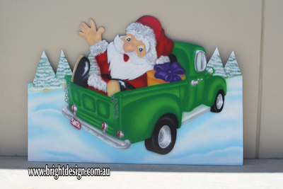 Jolly Christmas Santa in Australian Ute Outdoor Christmas Cut Out For Home and Commercial Christmas Decorating Custom Airbrushed by Bright Design Airbrushing Studio