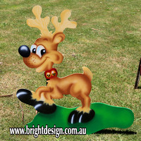 Santa in Sleigh & Trio Reindeers Outdoor Christmas Decoration for Commercial and Home Christmas Displays By Bright Design Airbrushing Studio