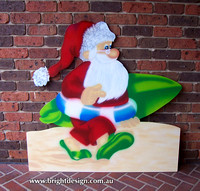 Australian Surfboard Santa Outdoor Christmas Decoration for Commercial and Home Christmas Displays By Bright Design Airbrushing Studio