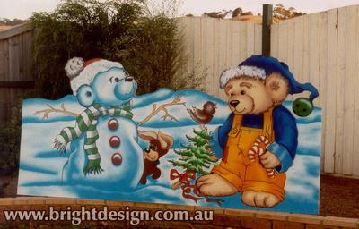 7-20 B-11 Christmas Snow Bears with Christmas Tree for Outside Christmas Decorating at Home