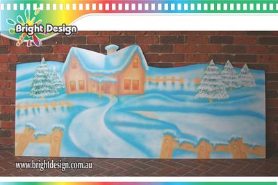 8-60 TR-07 Wm Santas Workshop Outdoor Christmas Display Custom Airbrushed By Bright Design Studio