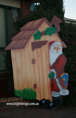 Santa in Australian Out House Outdoor Christmas Display Custom Airbrushed by Bright Design Airbrush Studio