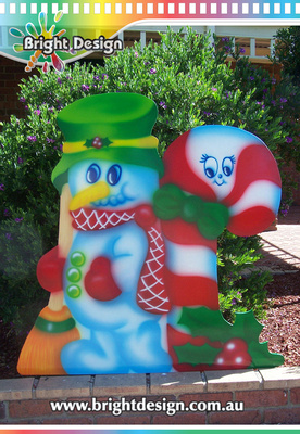 6-10 SM-02 WMP Candy Cane Snowman Outdoor Christmas Decoration for Commercial n Home Christmas Displays