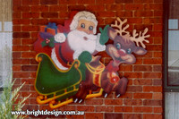 1 (SS-01) f www Santa and Reindeer Handmade Garden Outside Christmas Decoration