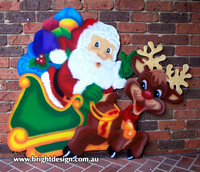 1 (SS-01) a www Santa n Reindeer Outdoor Christmas Decorations n Cut outs for Home Christmas