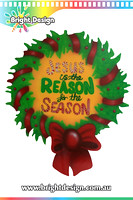 10- M-21 a Tradtional Wreath Christmas Outdoor Christmas Display Custom Airbrushed Christmas  Decoration by Bright Design Studio