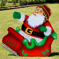 1- SS-12 f www (with Pipe) Australian Grandpa Swaggie Santa Outdoor Christmas Decorations n Cut outs for Home Christmas