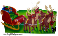 1- SS-04 Z Christmas Sleigh n Christmas Reindeers Outdoor Christmas Decoration