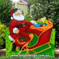 1 (SS-03) g www Santa Christmas Sleigh Outdoor Christmas Decorations n Cut Outs for Home Christmas