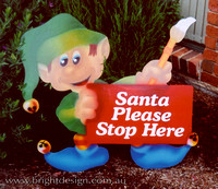 4- E-13 G Stop Here Elf Outdoor Christmas Display Custom Airbrushing by Bright Design Airbrush Studio