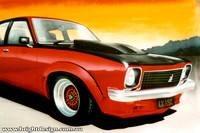 Holden Torana 1 Automotive car illustration Custom Airbrushing by Bright Design Airbrush Studio