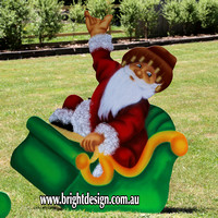 Australian Swaggie Santa Sleigh Outdoor Christmas Decoration for Commercial and Home Christmas Displays By Bright Design Airbrushing Studio