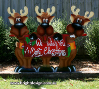 3- R-04 Trio Reindeer Ouside Christmas Decorations Personalised by Bright Design Airbrush Studio