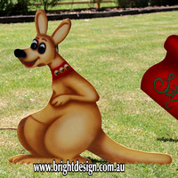 Single Australian Kangaroo Outdoor Christmas Decoration for Commercial and Home Christmas Displays By Bright Design Airbrushing Studio