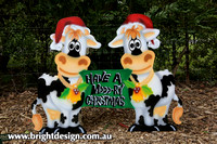 5-A-05 w Mooory Christmas Cows Outside Home Outdoor Christmas Display by Bright Design
