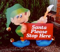 4- E-13 G Stop Here Elf Outdoor Christmas Display Custom Airbrushing by Bright Design Airbrush Studio