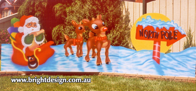 SS-06 Santa Sleigh and Double Reindeers with North Pole Sign Outdoor Christmas Cut Outs Custom Airbrushed by Bright Design Airbrushing Studi