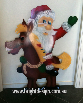 Horse Santa # 2 Outdoor Christmas Decoration for Commercial and Home Christmas Displays By Bright Design Airbrushing Studio