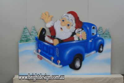Drunk Santa in Australian Ute Outdoor Christmas Decoration for Commercial and Home Christmas Displays By Bright Design Airbrushing Studio