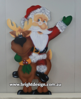 Santa on Christmas Reindeer Outdoor Christmas Display for home and commercial Christmas Decorating Handmade by Bright Design Airbrushing Studio