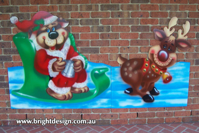 Santa Dog and Christmas Sleigh Outdoor Christmas Decoration for Commercial and Home Christmas Displays By Bright Design Airbrushing Studio