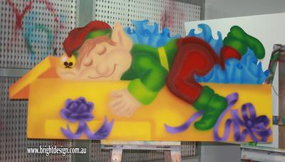 4- E-02 Lazy Present Elf Outdoor Christmas Decoration Handmade by Bright Design Custom Studio