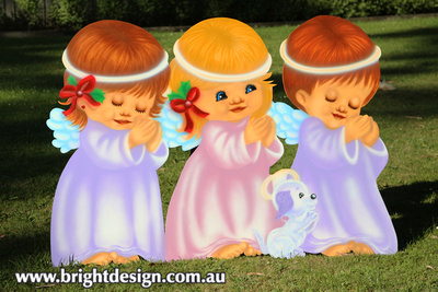 9-45 TD-07 Pw Traditional Angels n Dog Outdoor Christmas Decoration for Home Christmas Display by Bright Design