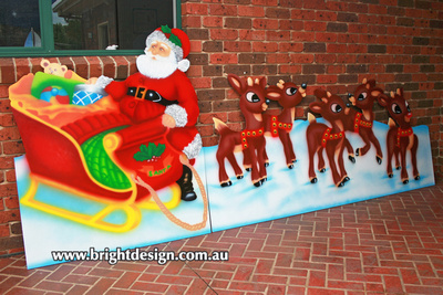 Santa Sleigh & Five Reindeer Outdoor Christmas Decoration for Commercial and Home Christmas Displays By Bright Design Airbrushing Studio