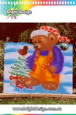 7-10 B-04 WM Christmas Bear Outdoor Christmas Display Custom Airbrushing