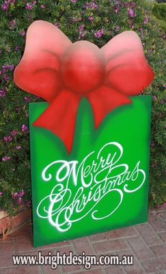 10-70 M-18 Merry Christmas Present Outdoor Christmas Display Custom Airbrushed by Bright Design