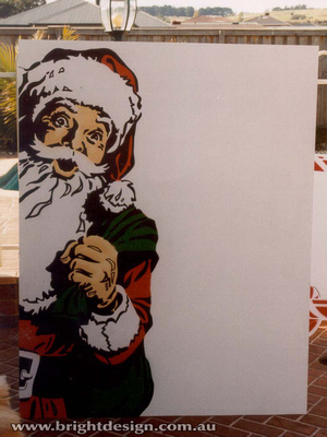 2- S-55 Door Way Santa Outdoor Christmas Display Personalised by Bright Design Airbrush Studio