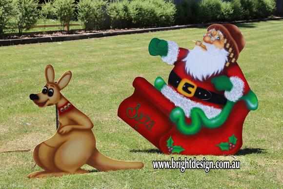 bright design 1 santa sleigh outdoor christmas displays