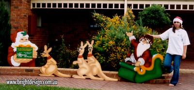 Australian Swaggie & Kangaroos Outdoor Christmas Decoration Custom Airbrushed for Your Home or Commercial Christmas Displays by Bright Design Custom Airbrushing