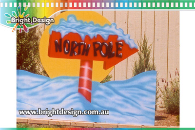 10-30 M-05 wm North Pole Sign with Snow Outdoor Christmas Display personalised Christmas Cut Out