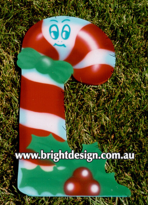 10-55 M-10 wm Christmas Candy Cane Outdoor Christmas Display Custom Airbrushed Christmas  Decoration by Bright Design Studio