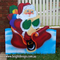 Santa Sleigh & Double Reindeer Traditional Outdoor Christmas Decorations for Home Gardens and Commercial Roof Displays Custom Airbrushing by Bright Design the Outdoor Christmas Specialist