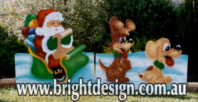 Sleigh & Two Dogs Outdoor Christmas Decoration for Commercial and Home Christmas Displays By Bright Design Airbrushing Studio