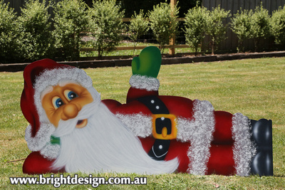 Waving Santa Outdoor Christmas Display for domestic and Commercial Christmas Decorating Custom Airbrushed by Bright Design Airbrushing Studio