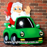 Porsche Santa Outdoor Christmas Decoration for Commercial and Home Christmas Displays By Bright Design Airbrushing Studio
