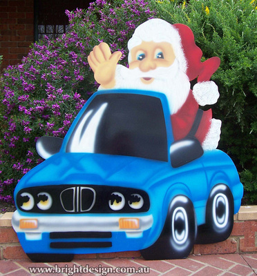 BMW Santa Outdoor Christmas Decoration for Commercial and Home Christmas Displays By Bright Design Airbrushing Studio