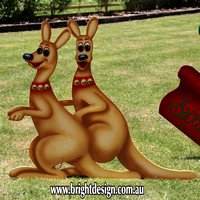 Double Australian Christmas Kangaroos Outdoor Christmas Decoration for Commercial and Home Christmas Displays By Bright Design Airbrushing Studio