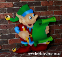 4- E-09 Checking List Elf Outdoor Christmas Display Custom Airbrushed by Bright Design Airbrushing