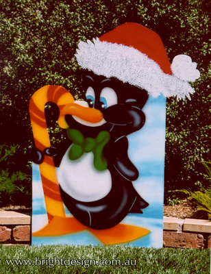 5-A-07 Christmas Penguin Outdoor Christmas Display Custom Airbrushing by Bright Design Studio
